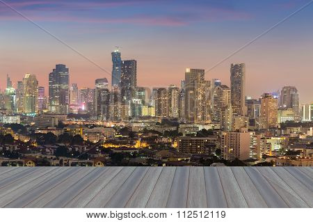 City downtown background skyline aerial view