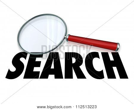 Search word on magnifying glass to illustrate looking for and finding facts and information