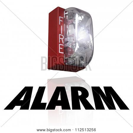 Alarm word under a fire elert for a crisis or emergency evacuation
