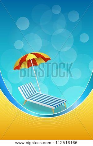 Background abstract summer beach vacation deck chair umbrella blue yellow vertical frame