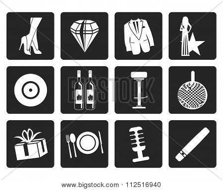 Black Luxury party and reception icons