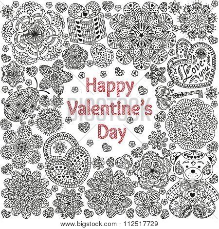 Design of card for Valentines day. Pattern with flowers, hearts, bear, gift and key.  Text Love you