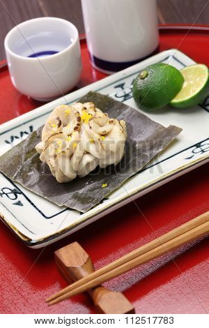 grilled cod milt with sake(rice wine), japanese cuisine