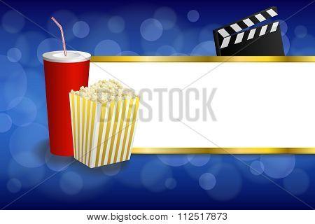 Background abstract blue gold red drink popcorn movie clapper board stripes frame illustration