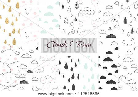 Rain And Clouds Kids Seamless Pattern Set.