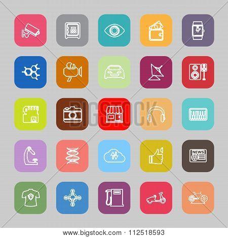 Hitechnology Line Flat Icons