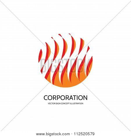 Abstract vector logo concept illustration. Abstract stripes in circle. Flame vector logo.