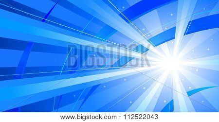 Blue Starburst Abstract Background