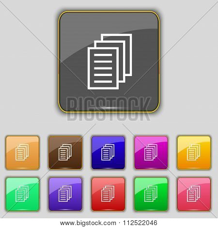 Copy File, Duplicate Document Icon Sign. Set With Eleven Colored Buttons For Your Site.