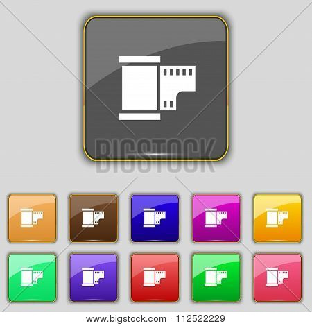 35 Mm Negative Films Icon Sign. Set With Eleven Colored Buttons For Your Site.