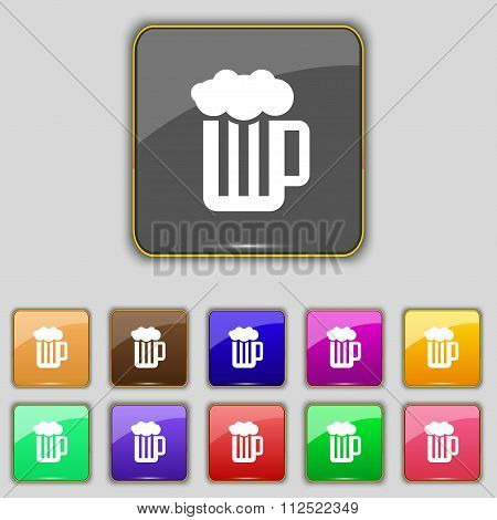 Glass Of Beer With Foam Icon Sign. Set With Eleven Colored Buttons For Your Site.