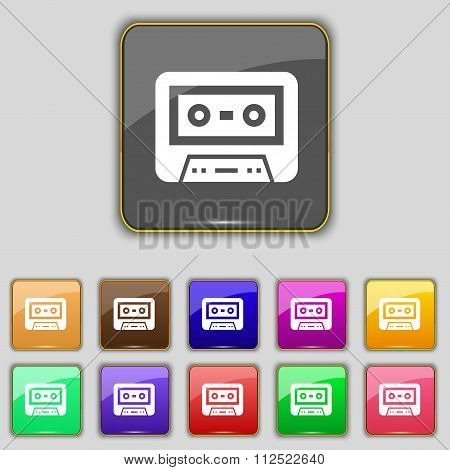 Audiocassette Icon Sign. Set With Eleven Colored Buttons For Your Site.