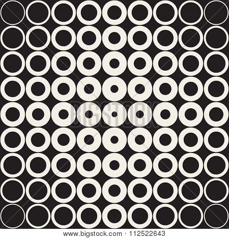 Vector Seamless Black And White Grid Of Circles With Fading Outlines Towards The Corners Retro Patte