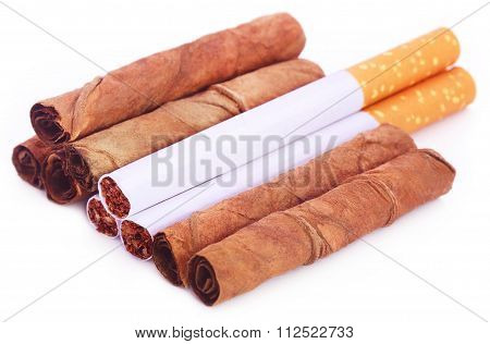 Dry Tobacco Leaves With Cigarette