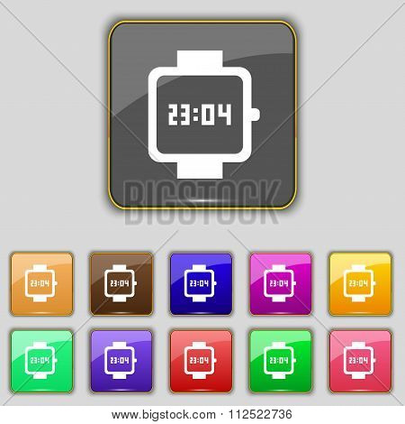 Wristwatch Icon Sign. Set With Eleven Colored Buttons For Your Site.