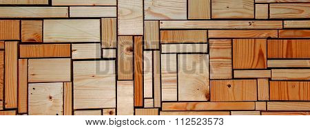 Orange Wooden Background Grid Abstract - Panorama / Header / Banner.