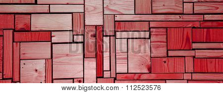Red Wooden Background, Grid Abstract - Panorama / Header / Banner.