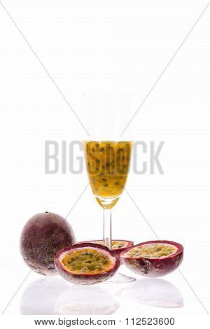 Purple Passion Fruit And Its Pulp Over White
