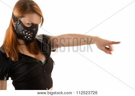 slave police woman in mask with spikes