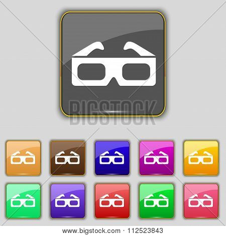 3D Glasses Icon Sign. Set With Eleven Colored Buttons For Your Site.