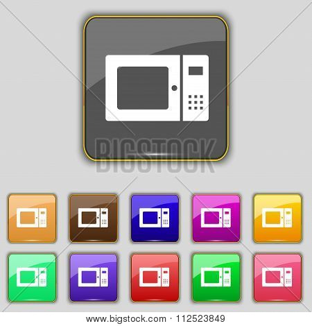 Microwave Icon Sign. Set With Eleven Colored Buttons For Your Site.