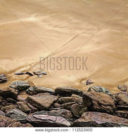 Beautiful Rock And Sand Beach Background Texture, Square, Text Space.
