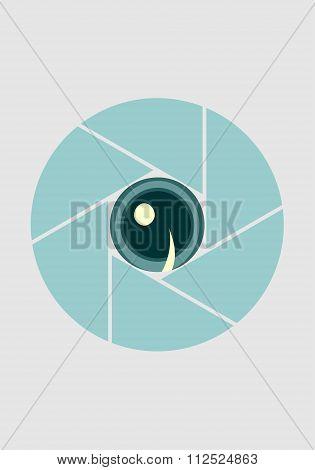 Photo Camera Aperture. Vector. Eye Instead Lens Aperture