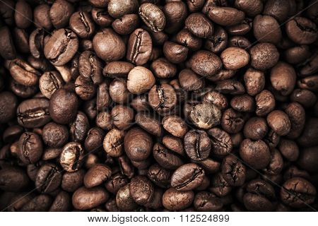 Closeup Background With Dark Roasted Coffee Beans