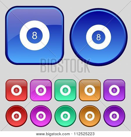 Eightball, Billiards  Icon Sign. A Set Of Twelve Vintage Buttons For Your Design.
