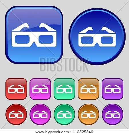 3D Glasses Icon Sign. A Set Of Twelve Vintage Buttons For Your Design.