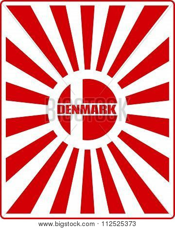 Denmark Flag On Sun Rays Backdrop