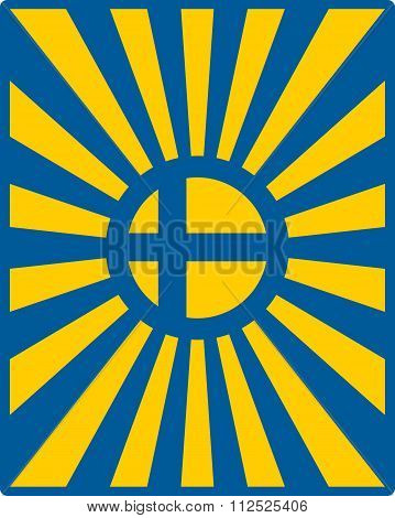 Sweden Flag On Sun Rays Backdrop