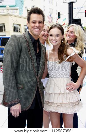 HOLLYWOOD, CALIFORNIA - June 12, 2011. Jim Carrey and Madeline Carroll at the Los Angeles premiere of