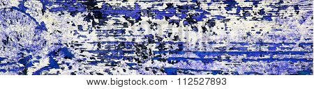 Flaking Blue Paint On Wood, Grunge Background Texture - Panorama.