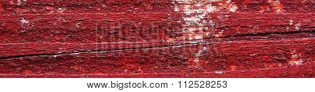 Wooden Background Texture With Flaking Bright Blood Red Paint - Panorama.