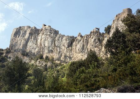 Peyrepertuse castle and mountain in French Pyrenees