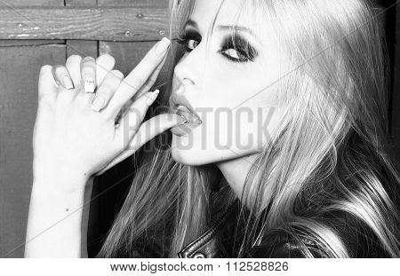 Cool Woman With Gun Gesture