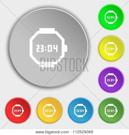 Wristwatch Icon Sign. Symbol On Eight Flat Buttons.