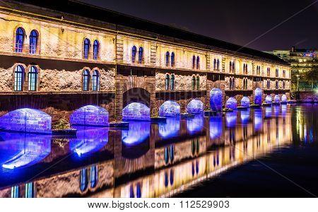 Night Illumination Of Barrage Vauban (vauban Weir) In Strasbourg