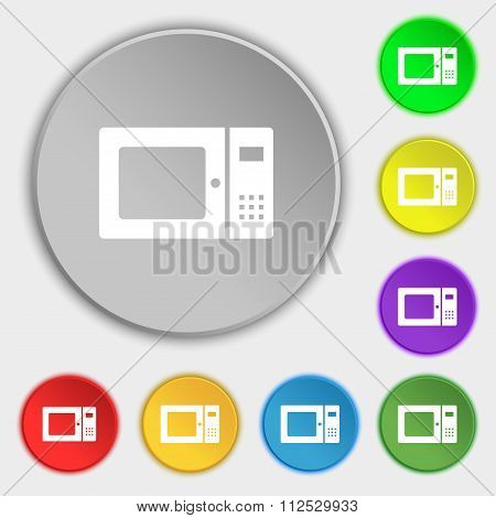 Microwave Icon Sign. Symbol On Eight Flat Buttons.