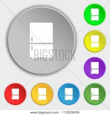 Refrigerator Icon Sign. Symbol On Eight Flat Buttons.