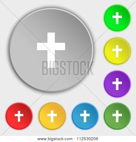 Religious Cross, Christian Icon Sign. Symbol On Eight Flat Buttons.