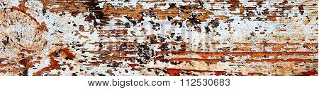 Flaking Orange Paint On White Wood, Grunge Background Texture - Panorama.