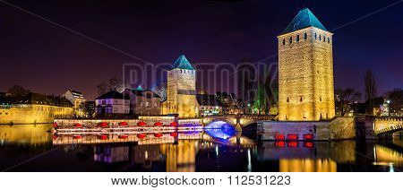 Panorama Of Ponts Couverts In Petite France Quarter Of Strasbourg