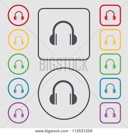 Headphones Icon Sign. Symbol On The Round And Square Buttons With Frame.