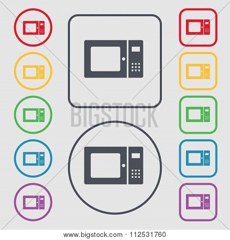 Microwave Icon Sign. Symbol On The Round And Square Buttons With Frame.