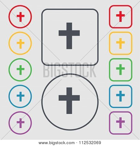 Religious Cross, Christian Icon Sign. Symbol On The Round And Square Buttons With Frame.