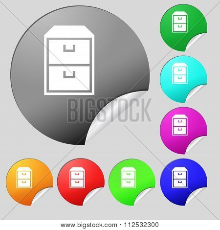 Nightstand Icon Sign. Set Of Eight Multi Colored Round Buttons, Stickers.
