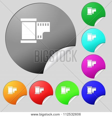 35 Mm Negative Films Icon Sign. Set Of Eight Multi Colored Round Buttons, Stickers.