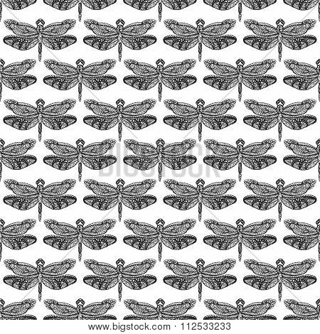 Hand Drawn Dragonfly Ink Doodle Seamless Pattern.